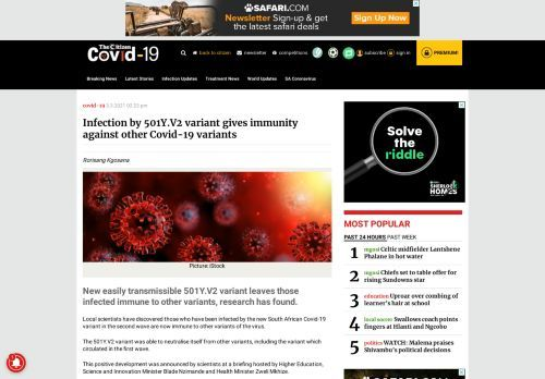 Infection by 501Y.V2 variant gives immunity against other Covid-19 variants – The Citizen