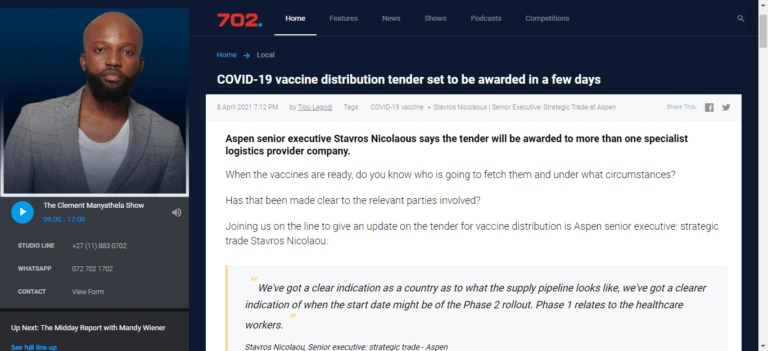 COVID-19 vaccine distribution tender set to be awarded in a few days