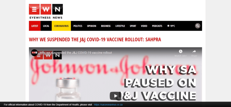 Why we suspended the J&J COVID-19 vaccine rollout: SAHPRA