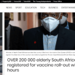 OVER 200 000 elderly South Africans  registered for vaccine roll-out within 24 hours