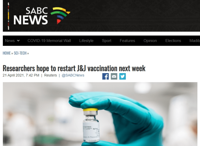 Researchers hope to restart J&J vaccination next week - SABC News - Breaking news, special reports, world, business, sport coverage of all South African current events. Africa's news leader.