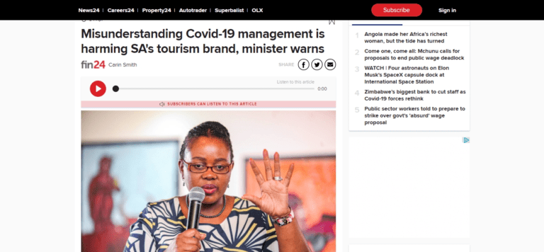 Misunderstanding Covid-19 management is harming SA's tourism brand, minister warns | Fin24