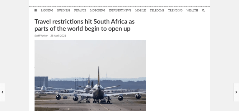 Travel restrictions hit South Africa as parts of the world begin to open up