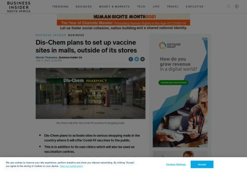 Dis-Chem plans to set up vaccine sites in malls, outside of its stores
