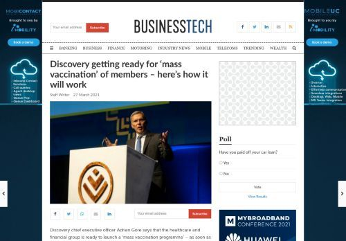 Discovery getting ready for 'mass vaccination' of members – here's how it will work