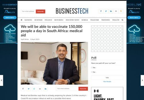 We will be able to vaccinate 150,000 people a day in South Africa: medical aid