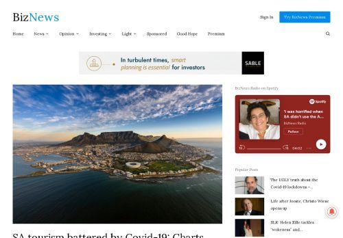 SA tourism battered by Covid-19: Charts show severe effects of the virus