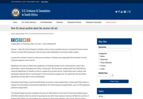 New US consul positive about the vaccine roll-out | U.S. Embassy & Consulates in South Africa