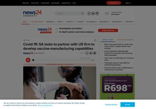 Covid-19: SA looks to partner with US firm to develop vaccine-manufacturing capabilities | News24