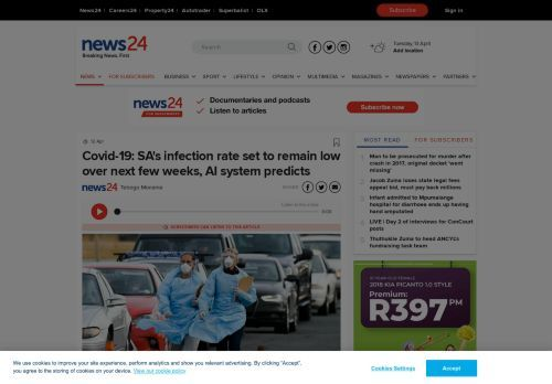 Covid-19: SA's infection rate set to remain low over next few weeks, AI system predicts | News24