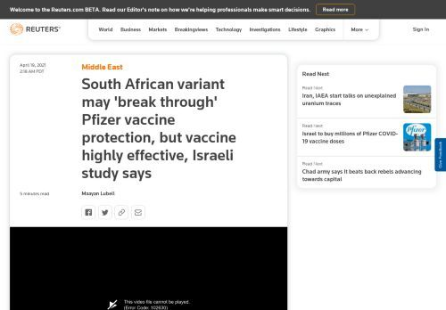 South African variant may 'break through' Pfizer vaccine protection, but vaccine highly effective, Israeli study says | Reuters