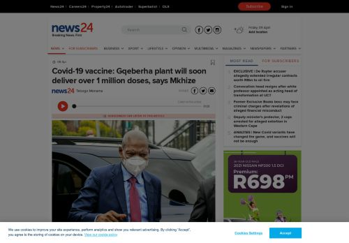 Covid-19 vaccine: Gqeberha plant will soon deliver over 1 million doses, says Mkhize | News24