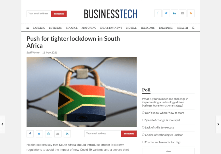 Push for tighter lockdown in South Africa