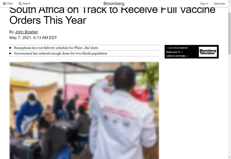 South Africa on Track to Receive Full Vaccine Orders This Year