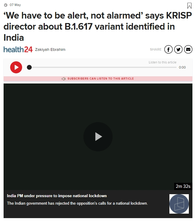 'We have to be alert, not alarmed' says KRISP director about B.1.617 variant identified in India | Health24