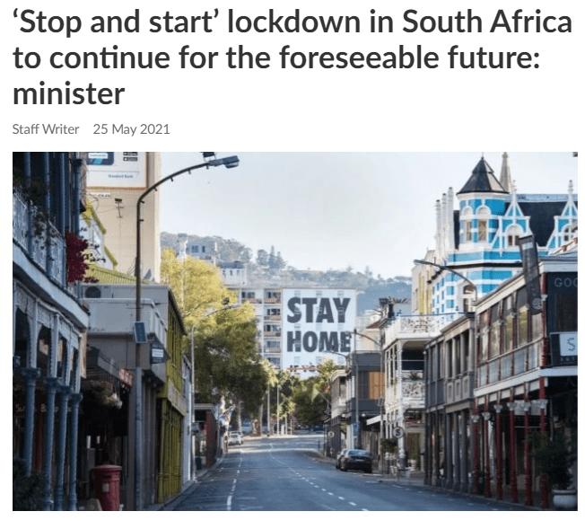 'Stop and start' lockdown in South Africa to continue for the foreseeable future: minister