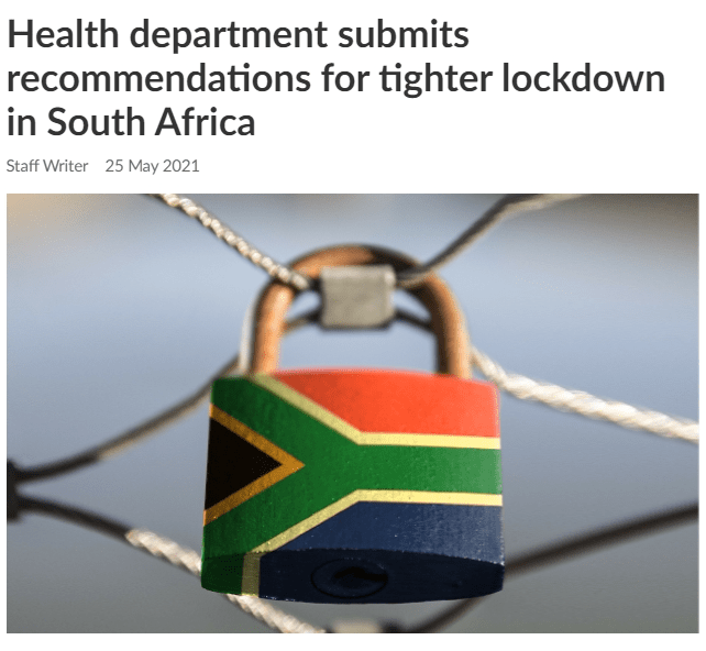 Health department submits recommendations for tighter lockdown in South Africa