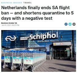 Netherlands finally ends SA flight ban – and shortens quarantine to 5 days with a negative test