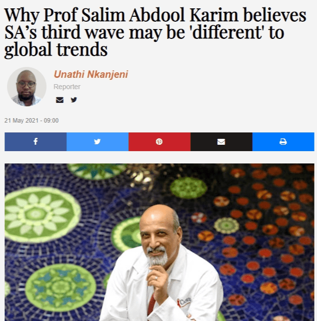 Why Prof Salim Abdool Karim believes SA's third wave may be 'different' to global trends