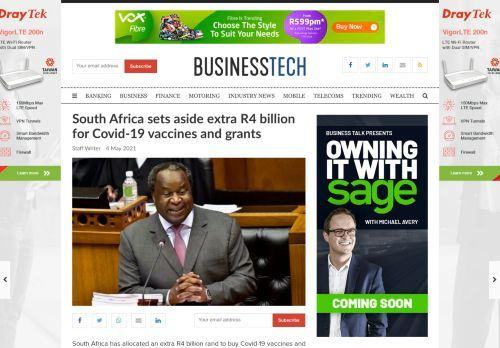 South Africa sets aside extra R4 billion for Covid-19 vaccines and grants