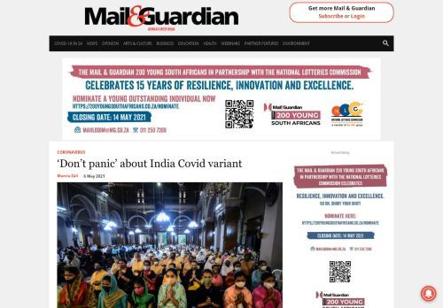 'Don't panic' about India Covid variant - The Mail & Guardian