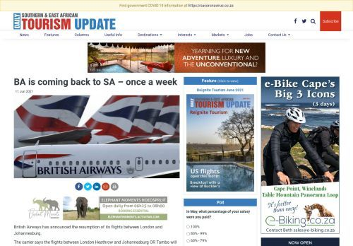 BA is coming back to SA – once a week | Southern & East African Tourism Update
